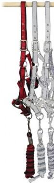 Ohlávka nylonová s vodítkem KENTAUR červená/černá