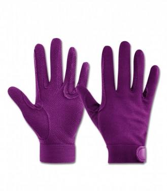 Bavlněné jezdecké rukavice Picot ELT fialová