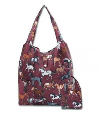 Skládací nákupní taška s koníky Waldhausen bordová